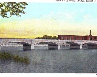 Vintage Washington Street Bridge Over the Kankakee River, Kankakee, Illinois,  Unused Postcard.