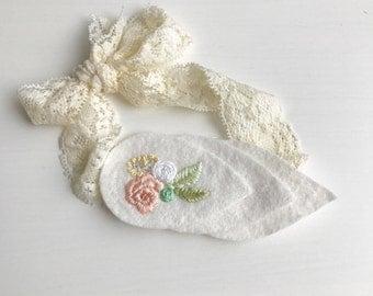 Hand Embroidered Flower Headband - Vintage Style Headband - Baby Headband - Children's Headband - Adult Headband - Lace Headband
