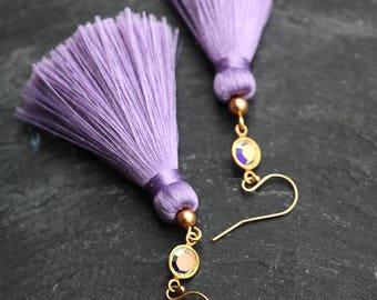 purple pink silk tassel earrings long dangles gold studs statement Swarovski gold pearl prom earrings bridesmaid earrings modern silver