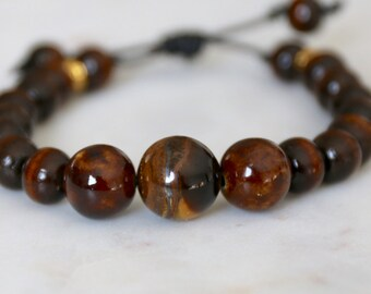 Men's Leather Tiger Eye and Wood Bead Bracelet with Gold Accents Adjustable - l Anniversary Gift, Birthday Gift for Boyfriend, Husband Gift