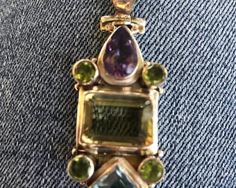 Sterling Charm with Amethyst, Blue Topaz, etc.