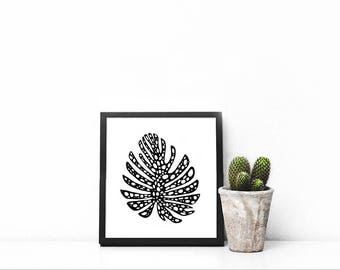 Botanical drawing - Original abstract, pen & ink  - wall decoration - plants - minimal monstera