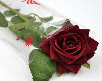 Handmade Beautiful Valentines Single Silk Red Artificial Rose