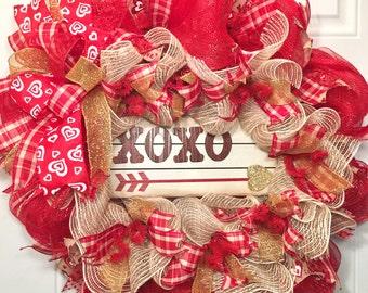 Valentine's Day Deco Mesh Wreath, Valentine's Wreath, Valentine's Day Wreath, Valentine Wreath