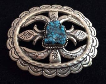 Vintage Navajo Silver and Turquoise Belt Buckle Signed Keams *SS97
