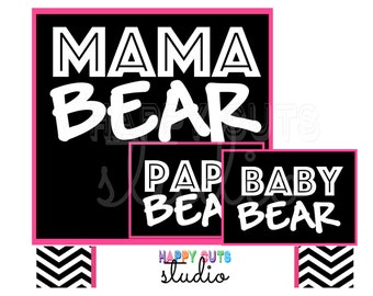Papa Bear Mama Bear Baby Bear Sister Bear Brother Bear Baby Shower Gift Matching Tribal Family Iron On Decals 326