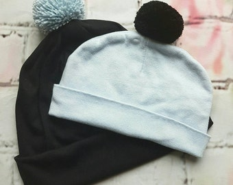 Hats Dad and Me-hats Sahar-hat baby, hat mum, hat dad-set of 2 hats-hat light blue and black-family hats with pompons-baby shower gift