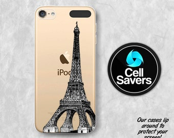 Eiffel Tower Clear iPod 5 Case iPod 6 Case iPod 5th Generation iPod 6th Generation Rubber Case Gen Clear Case French France Eiffel Tower
