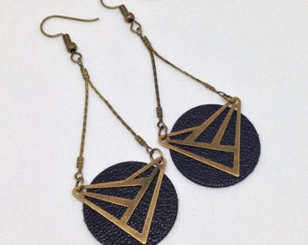Leather - sequin - triangle - modern - graphic connector earrings