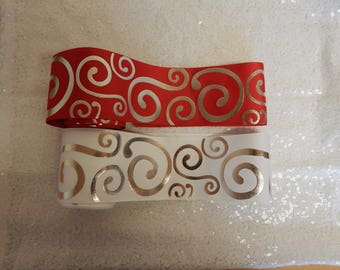 3''Ribbon - 75mm Ribbon -  Grosgrain Ribbon - White and Red With Silver - Foil Print Ribbon - High Quality Grosgrain Ribbon - Craft Supplise
