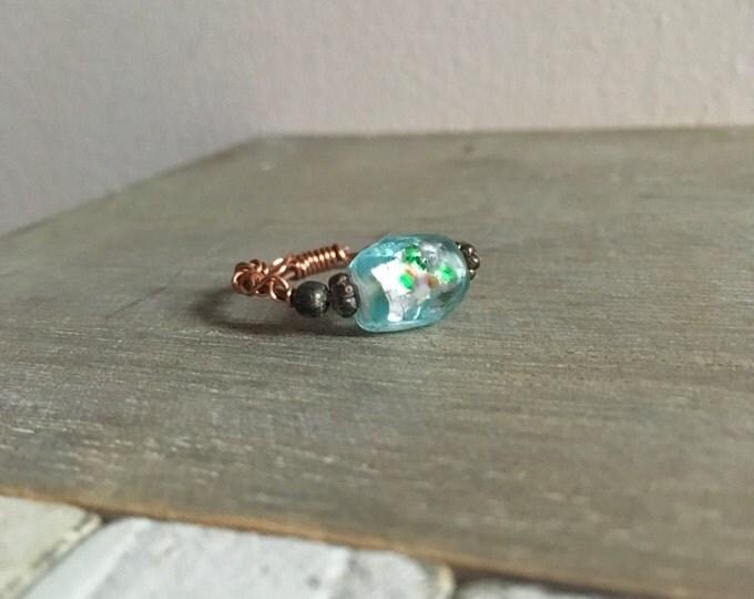 Glass Bead Copper Faerie Ring