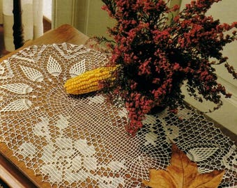 190. Vintage crochet  runner with roses and pineapples,  UK pattern  in pdf