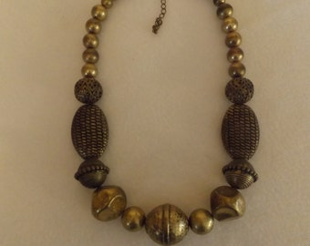 Vintage Brass Beaded Necklace