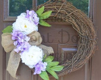 Hydrangea Front Door Wreath / Peony and Burlap Wreath / Purple Flower Door Wreath / Farmhouse Door Wreath / Personalized Wreath with initial