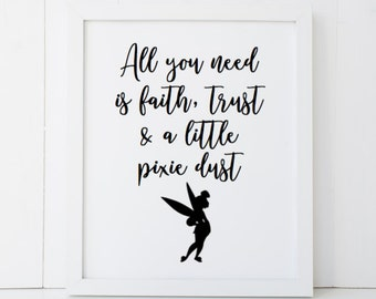 Pixie Dust Tinker Bell Peter Pan Quote Disney Home Decor Printable Wall Art INSTANT DOWNLOAD DIY - Great Gift