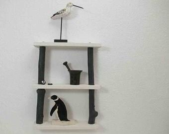 Small Driftwood wall shelf in black white, shelf to hang, driftwood shelf