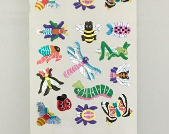 Vintage Sandylion Insect Sticker Strip. Butterflies, Ladybugs, Dragonflies, Bees