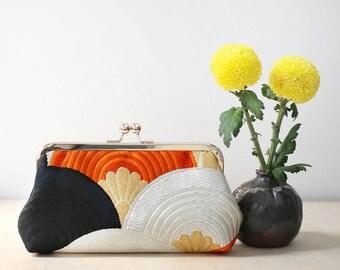 Black Orange Gold Seigaihai / Pine Waves Clutch | Upcycled from vintage Japanese Obi