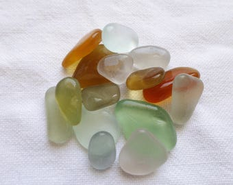 Real glass sea, soft colors, seaglass chips, provision for jewelry making, or collectors sea glass.