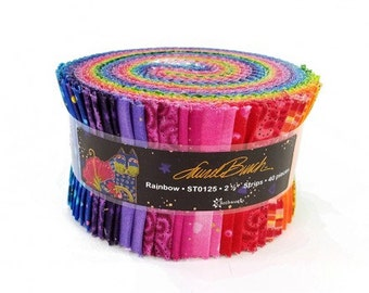 Laurel Burch Rainbow Jelly Roll with Metallic Accents 40 strips cotton precut quilting fabric material pinks purples blue black ST0125
