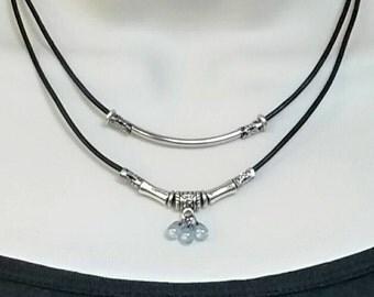 Multi strand black leather necklace, Czech glass necklace, beaded multi strand necklace, layered necklace