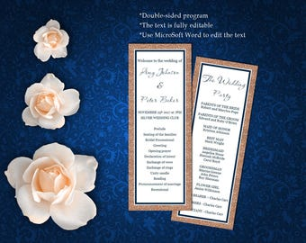 Wedding Program Template, Rose Gold Glitter Wedding Program Template, Editable text, Instant download, code - 053
