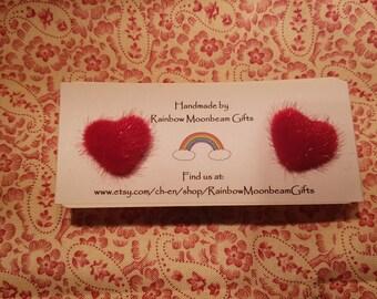 Red Heart Earrings, Stud Earrings, Silver plated studs, Fluffy earrings