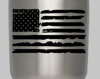 Distressed Flag Decal, Yeti Flag Decal , Yeti Decals, Flag Car Decals, Patriotic Decals, American Flag, Flag Decal,  American Flag Decal