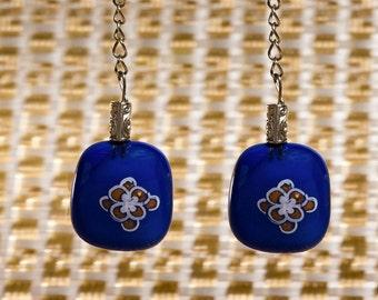 Blue rectangle earrings ,chic earrings, flower design blue earrings ,women gift, handmade Jewelry, gift for her, flower gold on blue glass