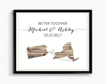 Better Together, Anniversary Date with Couples Names, Custom City/State Distance, Special Date Keepsake, Personalized Wedding Gift - (D174)