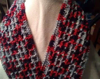 Scarf, Red, Gray, Black, Warm