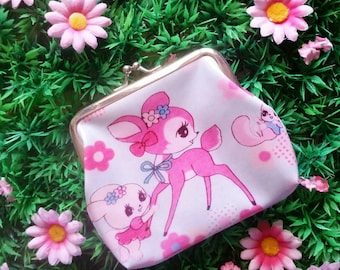 Pastel bambi showa deer coin purse NEW vintage retro style girls gift children kitsch money wallet vinnie boy vintage