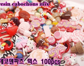 resin cabochons mix 100pcs