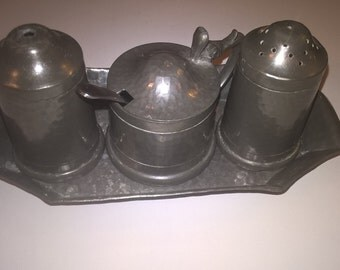 English pewter cruet set
