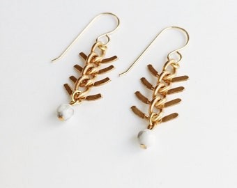 Fishbone Howlite Brass Earrings