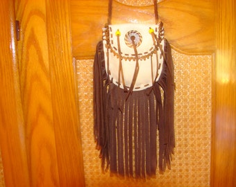 Native American Deerskin fringed Leather Necklace Bag Beaded Medicine Pouch 1.00 shipping