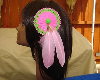 Native American Feather Hair Clip Tribal Beaded Feather Hair Ornament 1.00 shipping