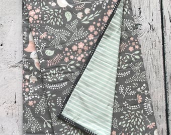 Woodlands Baby Quilt - Foxes, Birds - Grey, pink and Mint