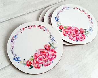 Glossy round gift set of 2 coasters, featuring my original watercolour 'Peony Blush'.