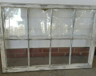 shabby chic distressed rustic 8 pane 40x27 antique white vintage window sash farm house art wedding - Distressed Window Frame