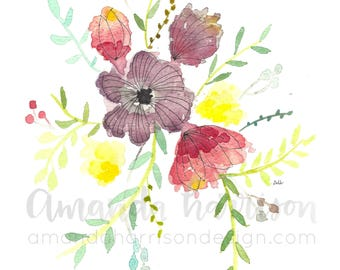 Purple Floral Watercolor Print | Watercolor Art | Watercolor Print