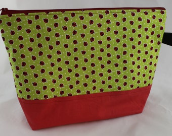 2-3 skein Project Bag - Ladybugs
