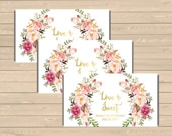 Personalized Gold Boho Printable Candy Bar Wrappers, Floral Hershey Chocolate Wrapper, Bridal Shower Wedding Favor Wrapper Download 110-G