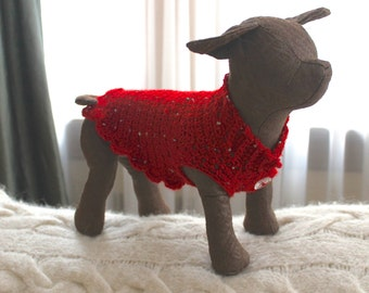 Dog Sweater ~ XXS Valentine Red, with Sparkles, Scalloped Ruffles & Sweet Flower Buttons