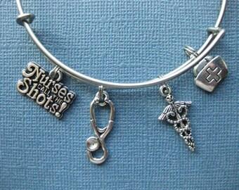 Nurse Bangle - Nurse Charm Bracelet - Nurse Jewelry - Charm Bracelet - Bangle - Medical - Nurse - Charm Bracelet -- B109