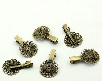 4 vintage hair clips hair clips with ornaments bronze blank approx. 40 x 25 mm