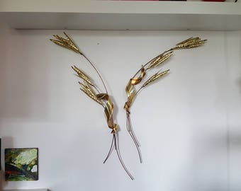 Vintage 1970s Welded Metal Sculpture - Wheat Sheaf - Wheat Spray x 2 - C. Jere Era - Vintage Wall Decor - Copper and