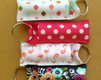 Coral lip balm keychain, ribbon lip bam case, party favor,  teacher gift, lipbam holder key ring