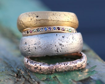 Use Your Own Gold Ring, Upcycling Jewellery, Unique Personalised Ring Cast in Beach Sand, Recycled Metal Ring, Unusual Rustic Ring, Bespoke