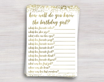 How Well Do You Know The Birthday Girl Party Game Quiz